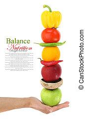 equilibrado, vegetales, dieta, fruits