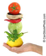 equilibrado, vegetales, dieta