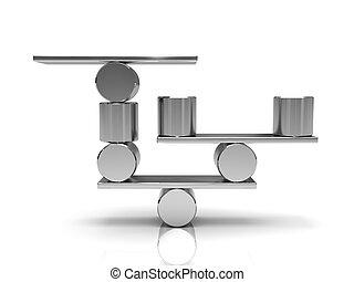 equilibrar, aço, cilindros