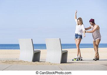 equilibrar, ligado, um, skateboard