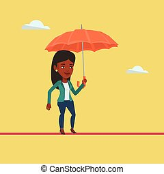 equilibratura, donna, tightrope., affari, rischioso