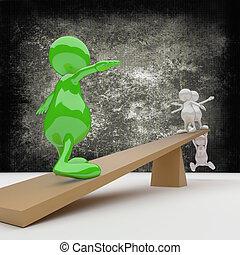 equilibrio, 3d, persone