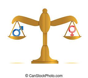 equilibrio, maschio, disegno, femmina, illustrazione