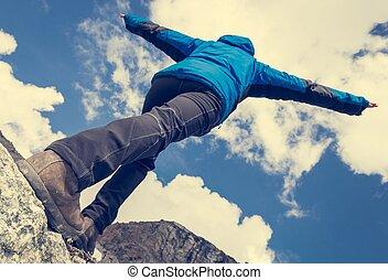 equilibrio, montagna, presa, cresta, femmina