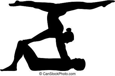 equilibrismo, donna, silhouette, uomo