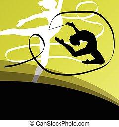 equilibrismo, volare, giovane, silhouette, ginnasti, attivo, ragazza, ribb