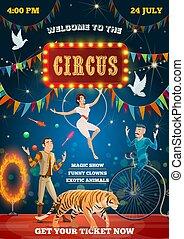 equilibrist, animais, mostrar, circo, domador, acrobata