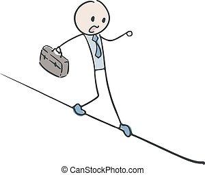 equilibrist, entrepreneur, illustration
