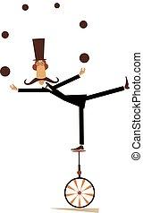 equilibrist, giochi destrezza, palle, illustrazione, unicycle, baffi, uomo
