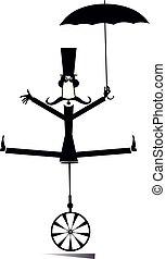 equilibrist, ombrello, illustrazione, unicycle, baffi, uomo