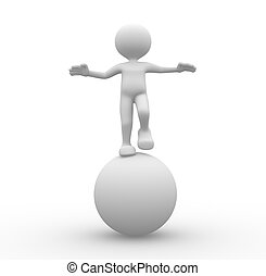 3d people - man, person in equilibrium on a ball.
