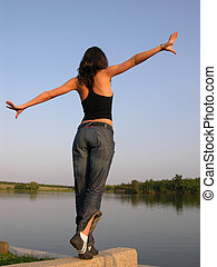 Equilibrium - Fly Or Jump ? Girl Into The Sunset Light