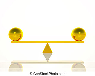 Equilibrium - two golden spheres balanced on a seesaw