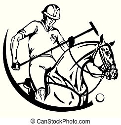 equine polo rider and pony horse - Equestrian polo player...