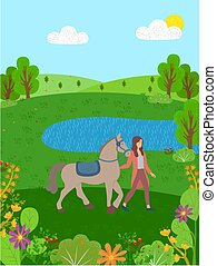 Equine Sports, Woman with Horse on Nature Lake
