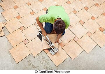 equipaggi posa, ceramica, mattonelle pavimento