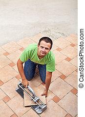 equipaggi posa, mattonelle pavimento, -, con, spazio copia