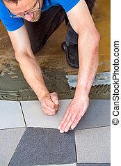 equipaggi posa, mattonelle pavimento, su, adesivo