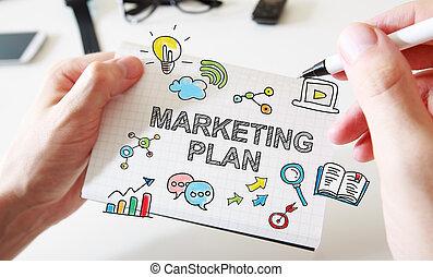 equipaggia, marketing, quaderno, mano, concetto, piano, disegno
