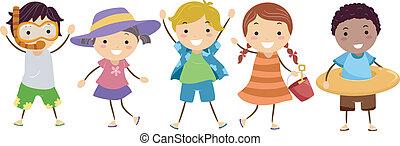 equipaggiamento, stickman, bambini, estate