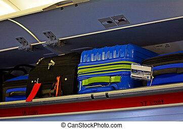 equipaje, arriba, llevar-en