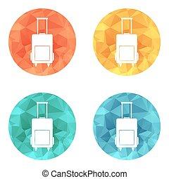 equipaje, bolsa, icono, vector