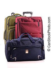 equipaje, el consistir, de, grande, maletas, aislado, blanco