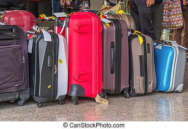 equipaje, el consistir, de, grande, maletas, mochilas, y,...