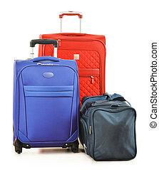 equipaje, el consistir, de, grande, maletas, y, bolso del...