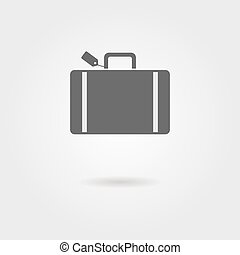 equipaje, icono, con, sombra