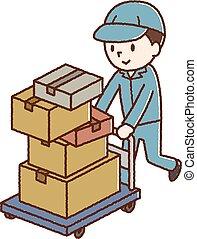 equipaje, proceso de llevar, hombres, portador