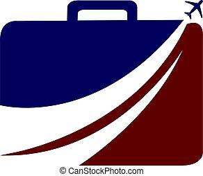 equipaje, viaje, vector, avión, logotipo, design.