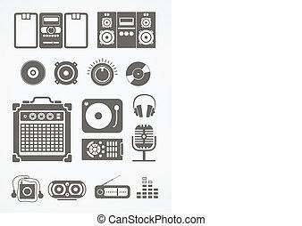 equipamento áudio, ícones, cobrança