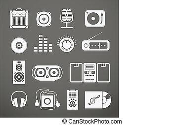 equipamento, áudio, cobrança, ícones