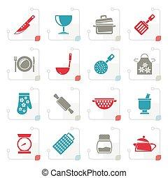 equipamento, ícones, cozinhar, stylized