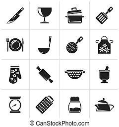 equipamento, ícones, cozinhar