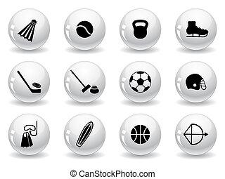 equipamento, ícones, desporto, botões, teia