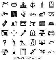 equipamento, ícones, jogo, simples, estilo