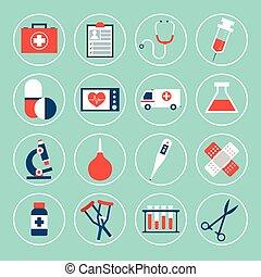 equipamento, ícones médicos