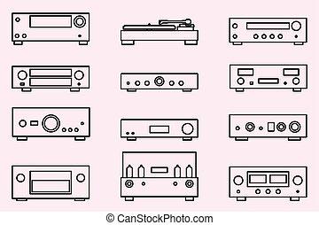 equipamento, ícones, vetorial, áudio