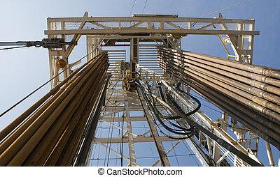 equipamento óleo, canos, e, torre