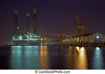 equipamento óleo, em, a, jardas