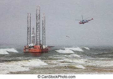 equipamento óleo, em, blizzard