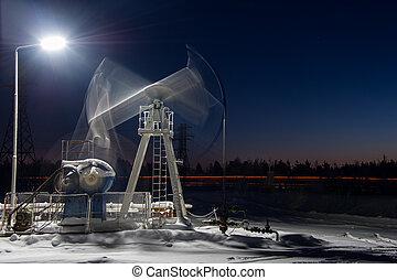 equipamento óleo, em, night.
