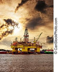 equipamento óleo, em, noruega