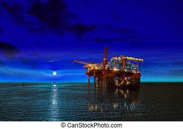 equipamento óleo, plataforma