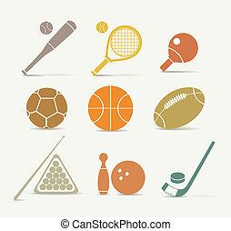 equipamento, abstratos, esportes, estilo, ícones