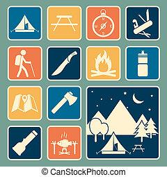 equipamento, acampamento, ícone