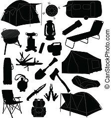 equipamento, acampamento