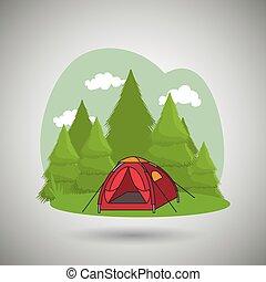 equipamento, acampamento, desenho